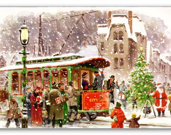 Vintage Christmas Card - Trolley Winter Scene - 1970 Christmas Card Digital Image - JPEG - Digital Download - Instant Download