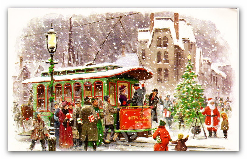 Vintage Christmas Card Trolley Winter Scene 1970 Christmas