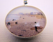 Photo Pendant, Resin Pendant, Morning at Cocoa Beach, Red, Black, Beige, Blue, Landscape, Unisex, 1 inch, Round