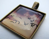 Photo Jewlelry, Resin Pendant, Black Skimmers. Sunset, Black, Beige, 1 Inch, Square