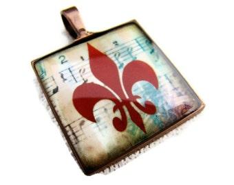 Resin Pendant, Fleur de lis, Red, Blue, 1 inch, Square, Unisex, Music Notes