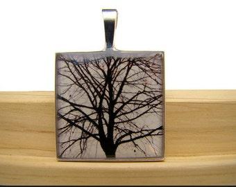 Resin Pendant, Tree Sihouette, Black, White, 1 inch, Square
