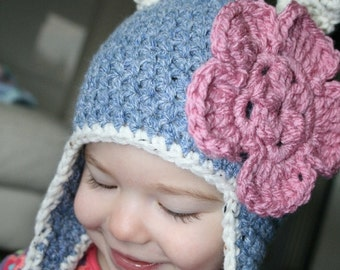 Crochet pattern, crochet cat hat pattern baby hat pattern cat hat pattern with earflaps includes INSTANT DOWNLOAD
