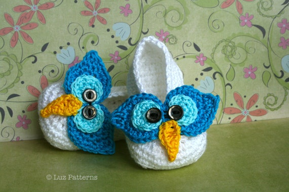 Crochet patterns, crochet baby pattern, crochet baby booties pattern,INSTANT DOWNLOAD crochet owl baby slippers (106)