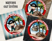 Pirate Gift Bag Tags or Cupcake Toppers, Birthday Party, (Digital File)