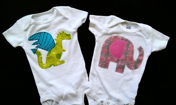 Pick two onesies or shirts baby shower gift package applique