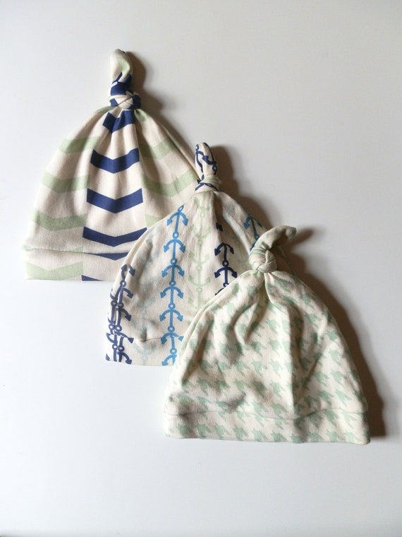 Baby Hat Set, Baby Boy Gift, Nautical Themed Baby Gift, Chevron and Anchors by Little Hip Squeaks