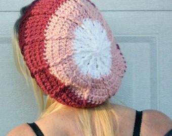 Ombre pinks crochet slouchy cloche hat, tam, boho,beanie