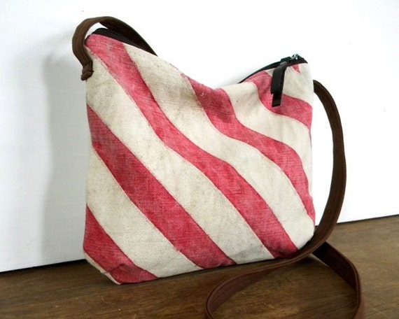 Recycled Delivery Bag Stripe Cross Body Bag