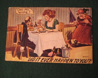 1912 Romantic Joke Postcard - Did It Ever Happen to You - Cheating - La Belle Missouri with 1 Cent Ben Franklin Stamp