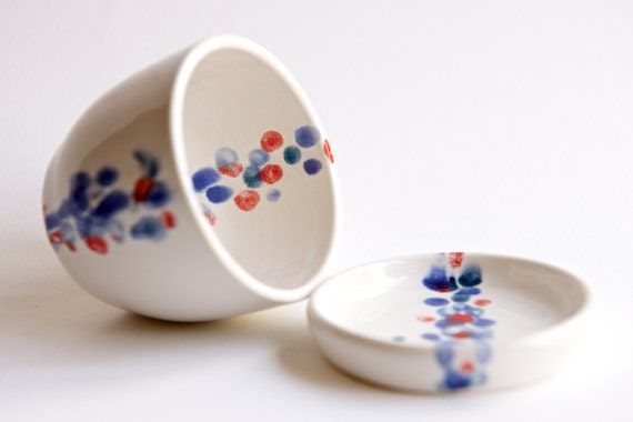 Ceramic Planter with Saucer in Teal, Lavender, and Red by RossLab