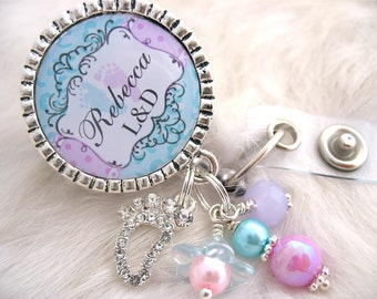 Personalized NICU ID Badge Reel, RN, Labor and Delivery Ob Np, Lpn, Lmt, Lvn, Rn, Bsn White Nicu Baby Feet Holder Pull Id Clip,Nurse Medical