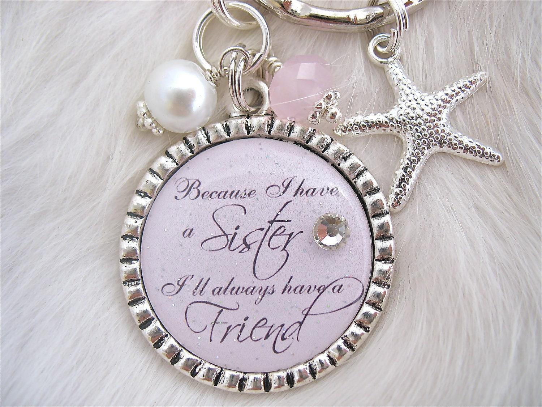 SISTER Wedding QUOTE Bridal Jewelry Gift by MyBlueSnowflake