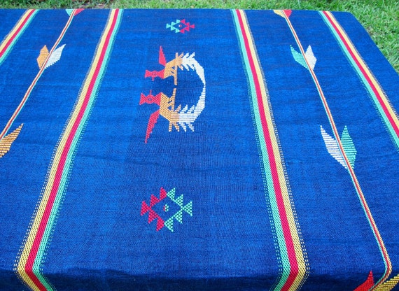 Vintage Southwestern Tablecloth Round Blue Central American