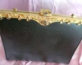Vintage After Five Black Handbag - Evening Bag With Rhinestones - Fancy Purse With Gold Trim