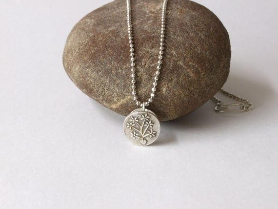 """Fine Silver Aromatherapy Necklace, Hand Stamped Botanical Design, 22"""" Sterling Silver Ball Chain"""