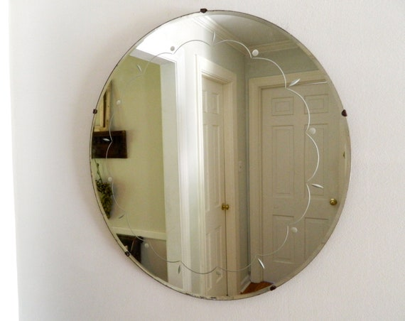 Large Round Gold Mirror: Vintage Etched Beveled Mirror Round Large