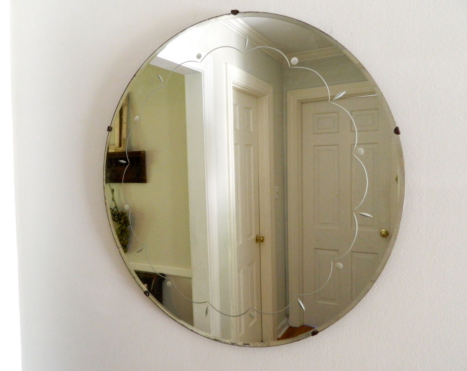 Vintage Etched Beveled Mirror Round Large