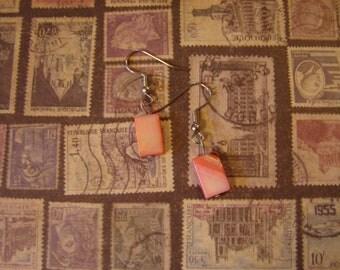 Pierced Earrings Mother of Pearl Peachy Pink Dangles