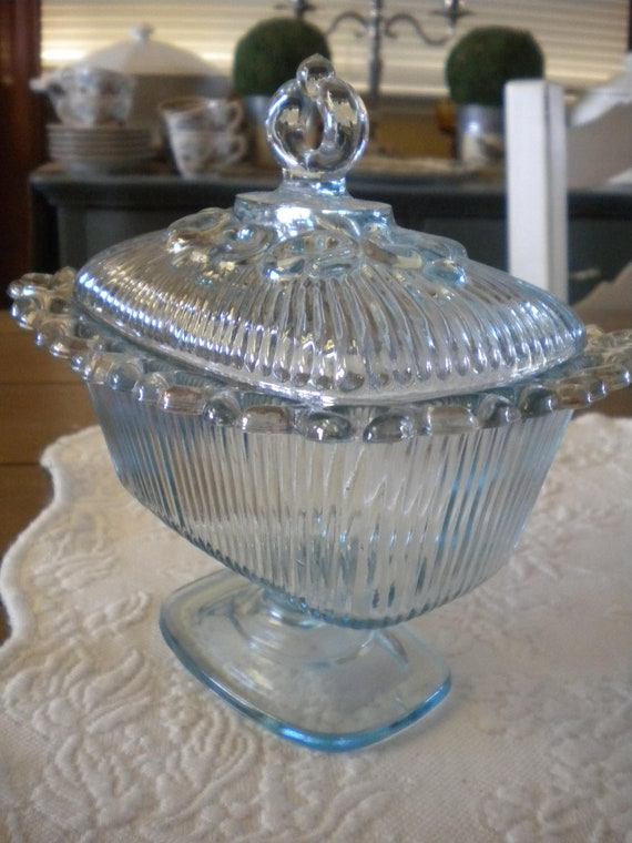 Blue Depression Glass Pedestal Candy Dish With Lid.