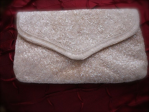 Vintage Ivory beaded clutch, off white beaded purse, evening beaded clutch