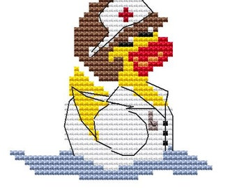 Modern Cross Stitch Kit 'Nurse Duck' CrossStitch Chart - Duck