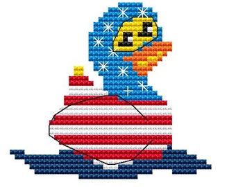 Cross Stitch Kit, 'USA Duck', Cross Stitch Pattern, Duck Stitching, Counted Cross Stitch, Modern Sewing, Beginners Set, Rubber Duck KIT