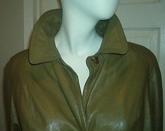 BONNIE CASHIN COAT Olive Green Leather 60s Size Small