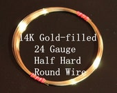 24 g ga Gauge 14k Gold-Filled Wire - Round - Half Hard - sold by 5 feet increments (RW2401GF)