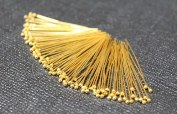Beautiful Vermeil Ball Headpins, 24k gold over 925 Sterling Silver, Head Pins, Ball pins, 28 gauge, ga , g, 20mm, 500 pcs (BP2820VM)