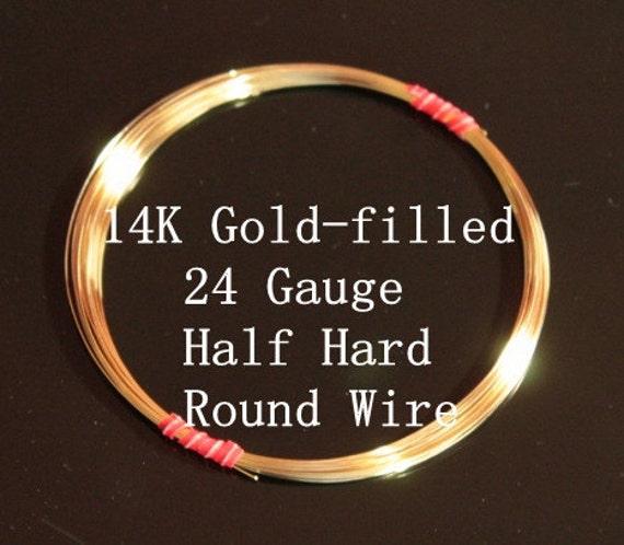 24 g ga Gauge 14k Gold-Filled Wire - Round - Half Hard - sold by 5 feet increments (RW2401GF)