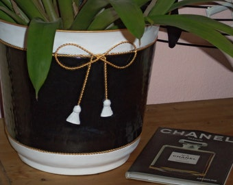 Striking Vintage French Style Planter Vase Black White Hand Painted
