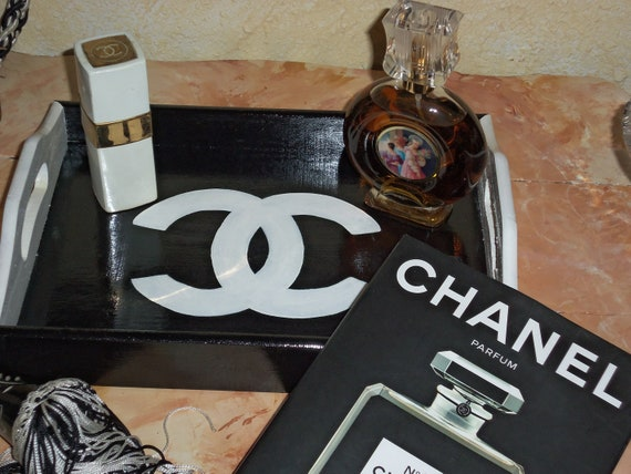 CHANEL Inspired CC Logo Black and White Serving Vanity Tray