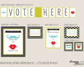 Gender Reveal Voting Station  - Little Mister or Miss - INSTANT DOWNLOAD - Red Lips