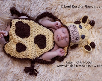 Giraffe Hat and Cover - Crochet Pattern 108 - Beanie and Earflap Instructions - Newborn to 12 Months - uk or us Terms - INSTANT DOWNLOAD
