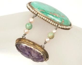 Art Deco Carved Amethyst & Natural Turquoise Bracelet Jade Beads Seed Pearl s Filegree, Art Deco Bracelet