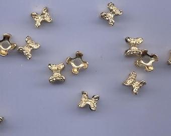 Twelve unusual and super-cool vintage shiny gold tone metal spacers