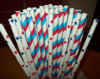 Retro Looking Mixed  Blue  Red  Striped  Blue Red  Stars  White Paper Drinking Straws 50