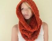 The Chunky Cowl Scarf Shawl Hood - Rust Orange
