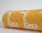 Baby Blanket, Mustard Yellow with white colored Giraffs, white minky