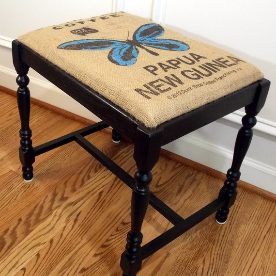 Refurbished Vintage Bench Stool With Blue Butterfly Burlap