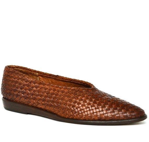 Vintage SESTO MEUCCI Italian Woven Brown Leather Flats 7.5