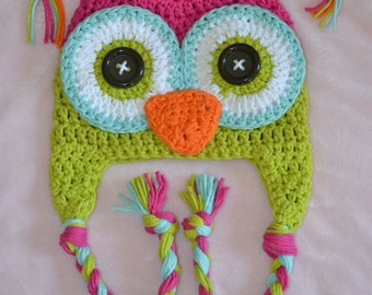 baby owl hat, kids owl hat, girls owl hat, crochet owl hat, custom colors