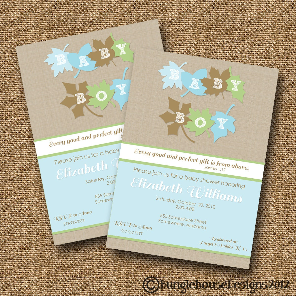 Fall Leaves Baby Shower Invitation DIY PRINTABLE Baby Boy – Bible Verses for Baby Announcements