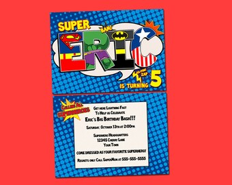 Personalized Superhero Birthday Party Doublesided Invitation- Digital file