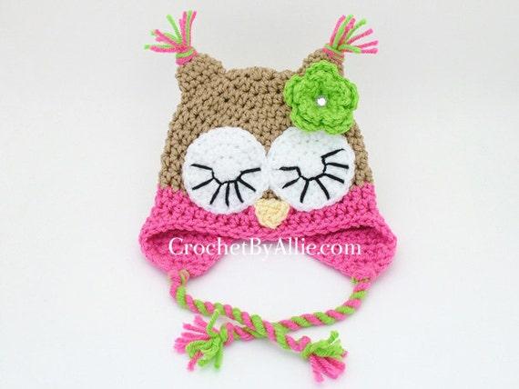 Crochet Owl Hat 0-3 or 3-6 Months Sleeping