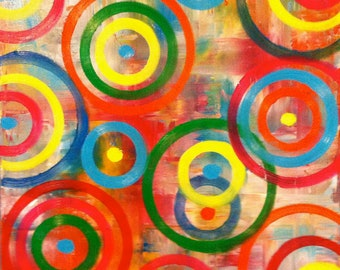 Modern Circle Oil Abstract Painting / 24 X 24 / Original in Bright Geometric Colors