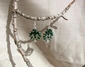 Beaded earrings. 'Green leaves'