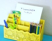 Revamped and Repurposed Faux Bois Desk Organizer LERNER, Stationary, utensil holder Bright sunburst Yellow and Distressed