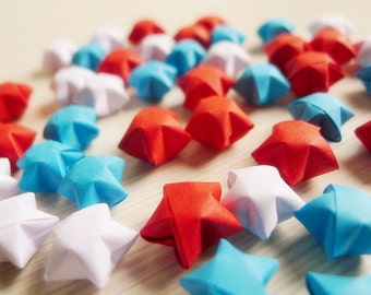 White Blue and Red Origami Lucky Stars - Wishing Stars/Party Favor/Home Decor/Birthday Gift/Embellishment